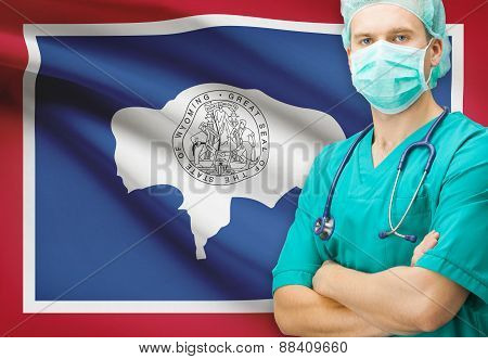 Surgeon With Us State Flag On Background Series - Wyoming