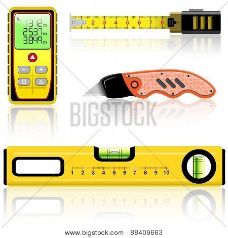 Yellow laser range finder, spirit level, tape measure, knife construction isolated on white. Vector illustration.