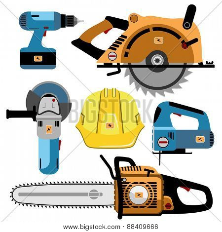 Building Tools Electric isolated on white background. Set icon. Vector illustration.
