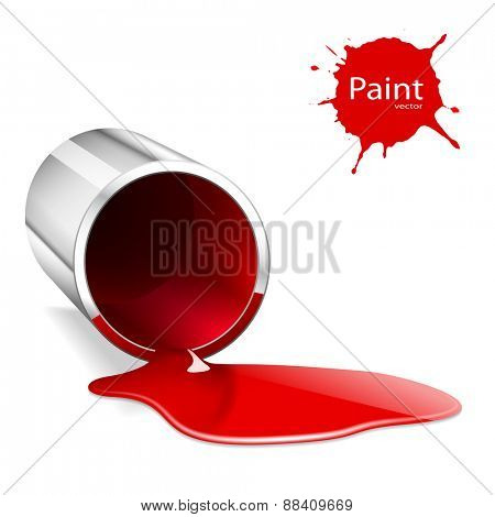 Illustration of metallic capacity with a red paint. Vector.