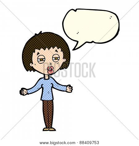 cartoon suspicious woman with speech bubble