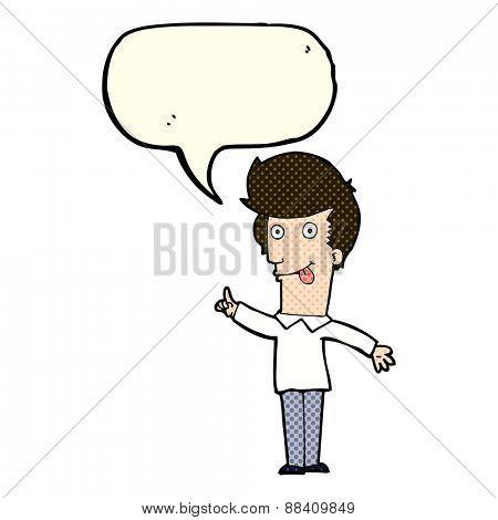 cartoon funny man with idea with speech bubble