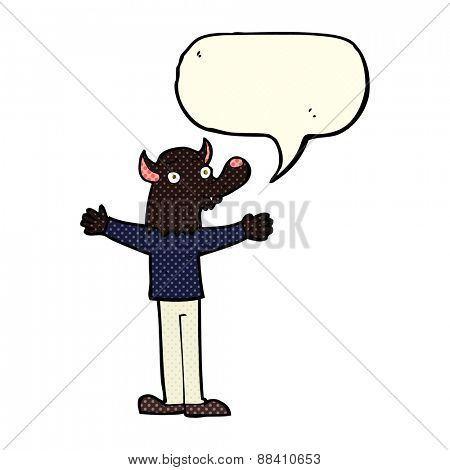 cartoon friendly werewolf with speech bubble