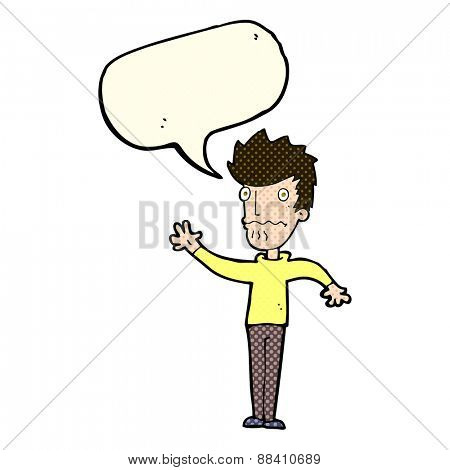 cartoon worried man reaching out with speech bubble