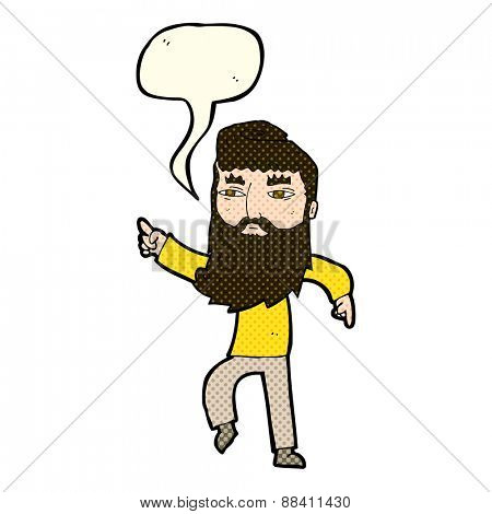 cartoon bearded man pointing the way with speech bubble