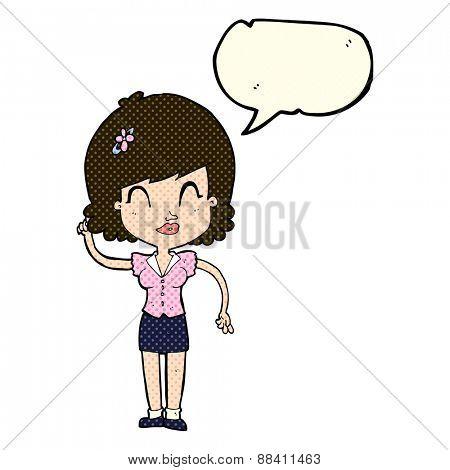 cartoon pretty woman with idea with speech bubble