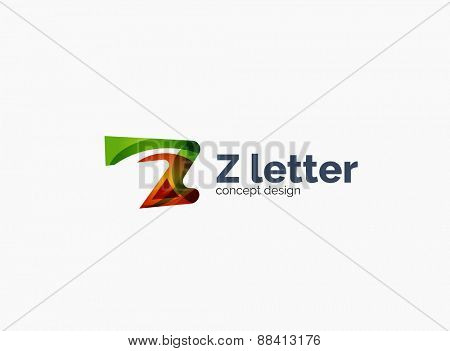 Modern Z letter company logo, clean glossy design. Abstract shape made of color overlapping wave pieces
