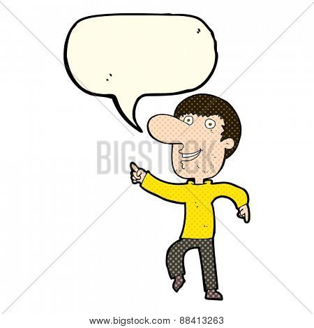 cartoon happy man dancing with speech bubble