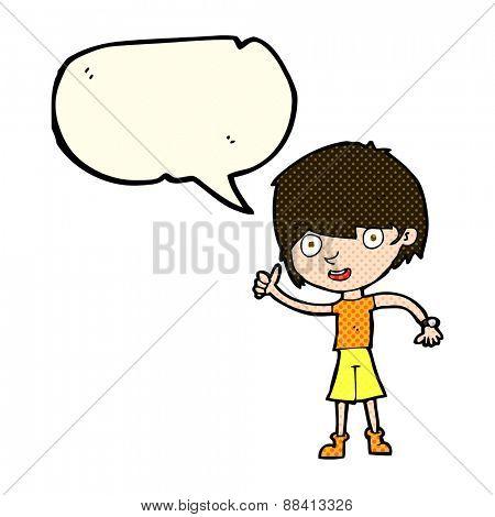 cartoon boy with positive attitude with speech bubble