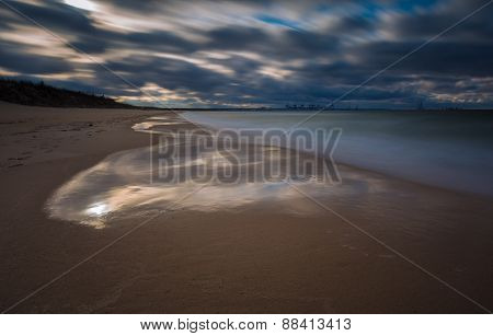 Dark Baltic Shore Landscape. Long Exposure Photo.