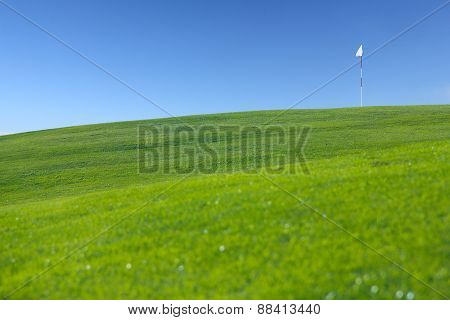 Flag On Golf Field