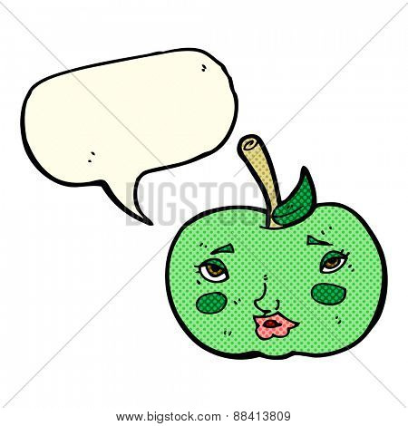 cartoon apple with face with speech bubble