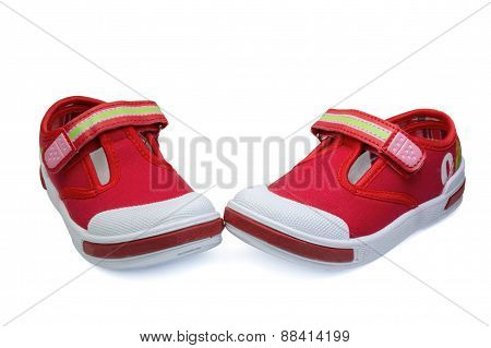 Pair Of Red Child  Sneakers
