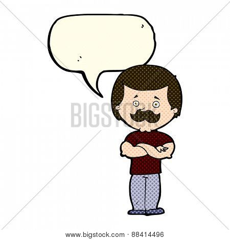 cartoon manly mustache man with speech bubble