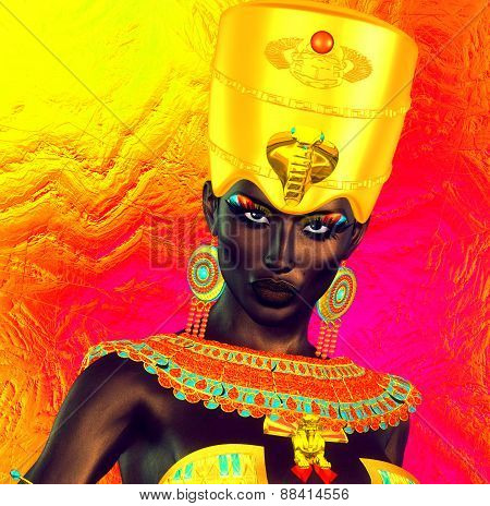 Black Egyptian princess in our modern digital art style, close up.