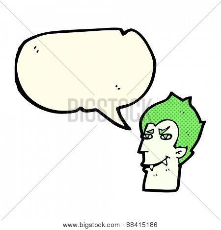 cartoon vampire face with speech bubble