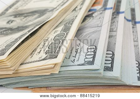 Stack of money american hundred dollar bills