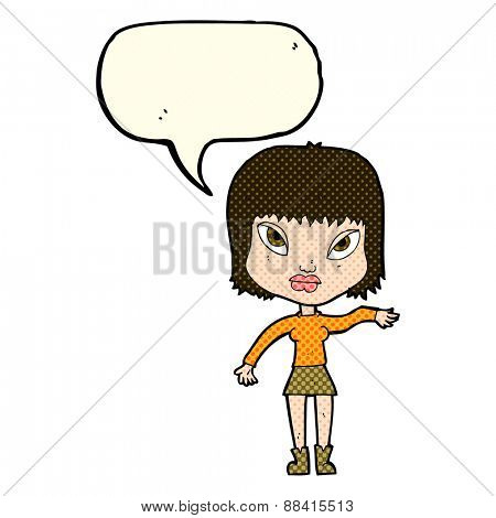 cartoon woman making gesture with speech bubble
