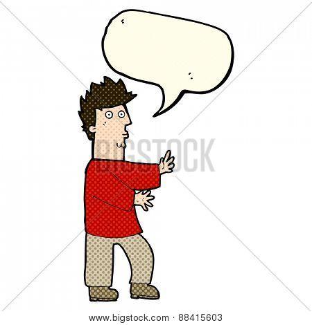 cartoon nervous man waving with speech bubble