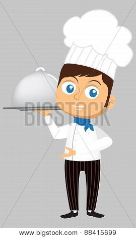 Young Chef In Cartoon Style