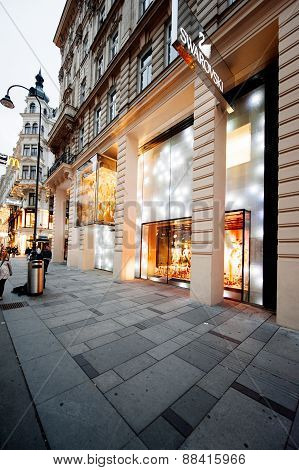 Swarovsky Store Logo On A Shopping Street In Vienna, Austria