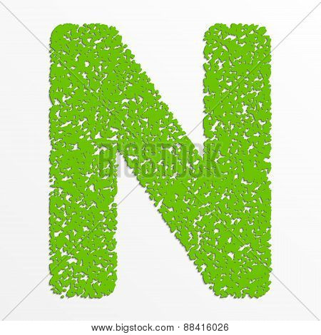 Vector multi color alphabet with grain texture, letter N