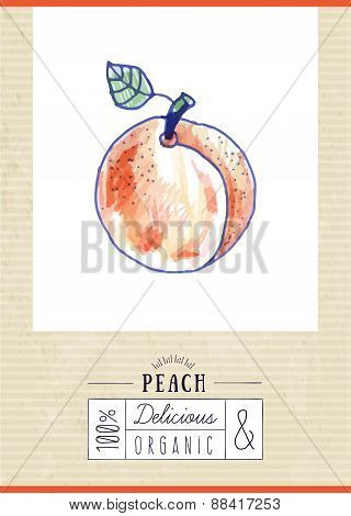 Vintage Label With Hand Drawn Peach