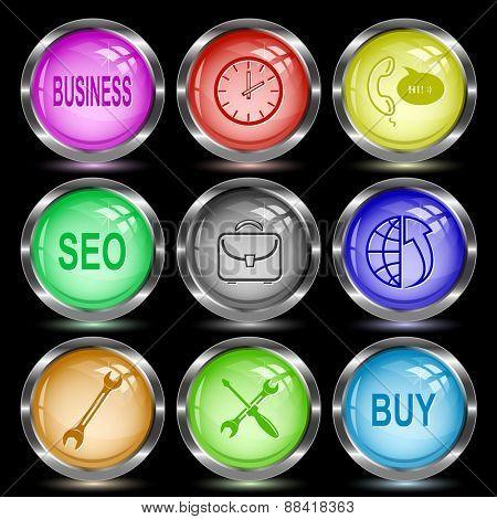 Business set. Internet button. Raster illustration.