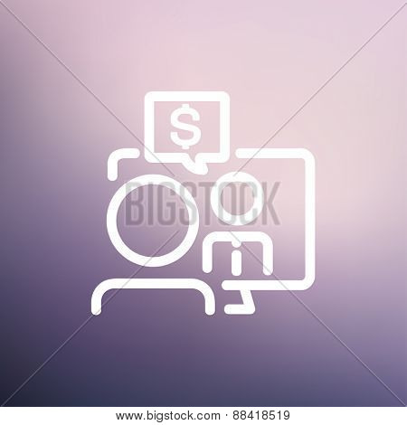 Business discussion icon thin line for web and mobile, modern minimalistic flat design. Vector white icon on gradient mesh background.