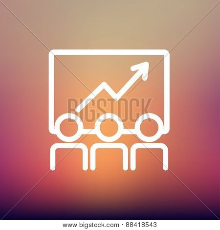 Business growth icon thin line for web and mobile, modern minimalistic flat design. Vector white icon on gradient mesh background.