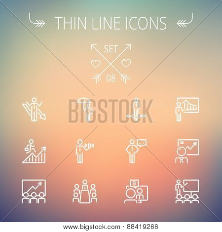 Business thin line icon set for web and mobile. Set includes- people, wifi, arrows, money, umbrella icons. Modern minimalistic flat design. Vector white icon on gradient mesh background.
