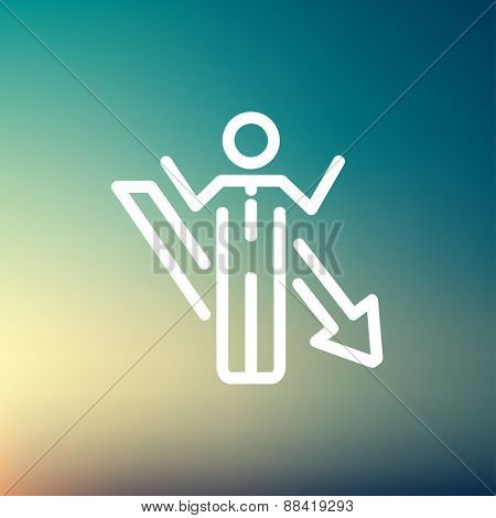 Man with arrow down icon thin line for web and mobile, modern minimalistic flat design. Vector white icon on gradient mesh background.