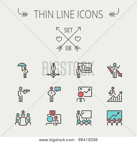 Business thin line icon set for web and mobile. Set includes- people, wifi, arrows, money, umbrella icons. Modern minimalistic flat design. Vector icon with dark grey outline and offset colour on