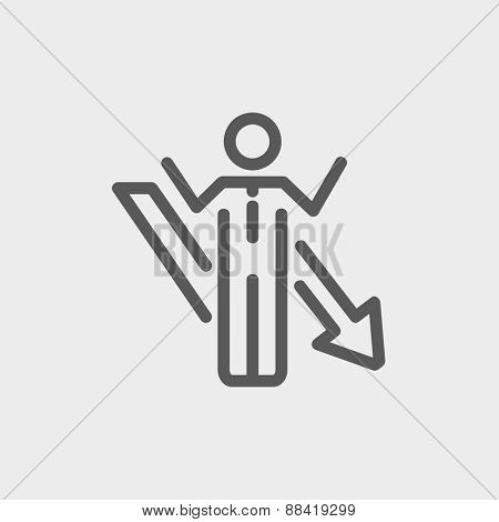 Man with arrow down icon thin line for web and mobile, modern minimalistic flat design. Vector dark grey icon on light grey background.