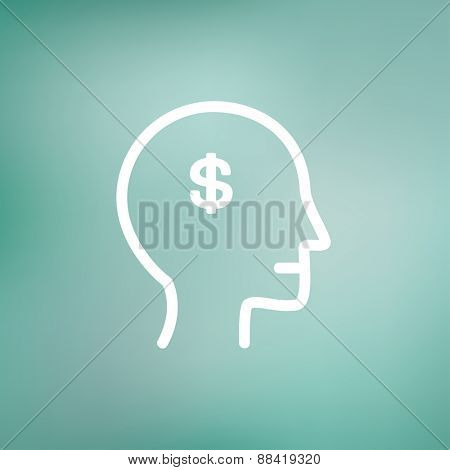Head with dollar symbol icon thin line for web and mobile, modern minimalistic flat design. Vector white icon on gradient mesh background.