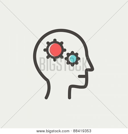Human head with gear icon thin line for web and mobile, modern minimalistic flat design. Vector icon with dark grey outline and offset colour on light grey background.