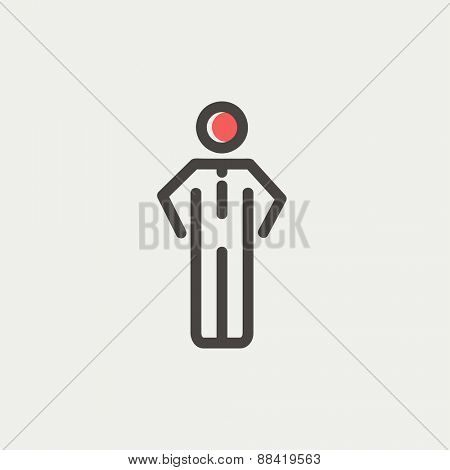 Man standing icon thin line for web and mobile, modern minimalistic flat design. Vector icon with dark grey outline and offset colour on light grey background.