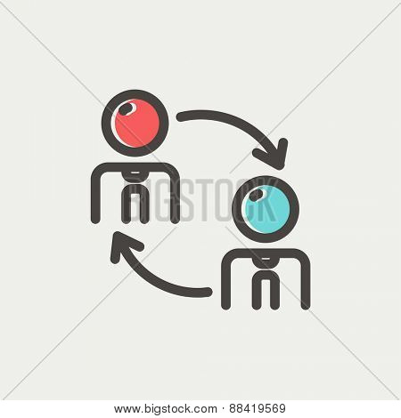 Two men in exchanging arrow icon thin line for web and mobile, modern minimalistic flat design. Vector icon with dark grey outline and offset colour on light grey background.