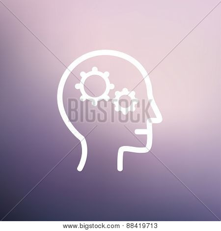 Human head with gear icon thin line for web and mobile, modern minimalistic flat design. Vector white icon on gradient mesh background.