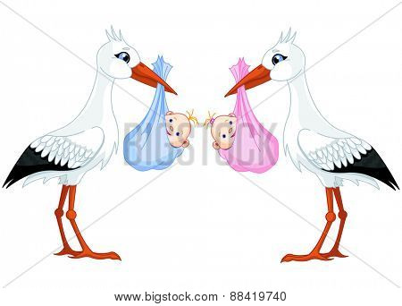 Illustration of two storks delivering newborn babies