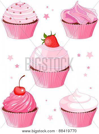 Set of five various cupcakes