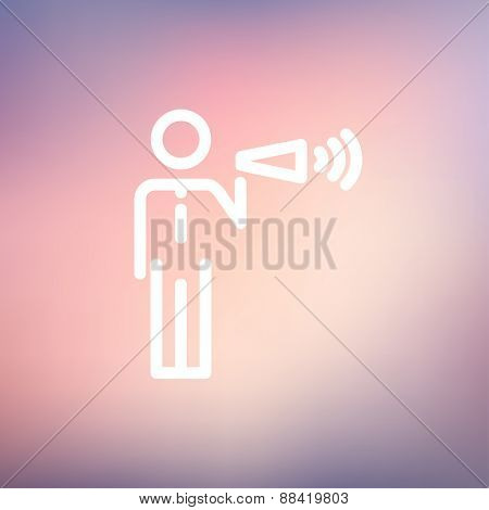 Man with megaphone icon thin line for web and mobile, modern minimalistic flat design. Vector white icon on gradient mesh background.