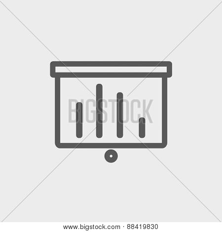 Projector roller screen icon thin line for web and mobile, modern minimalistic flat design. Vector dark grey icon on light grey background.