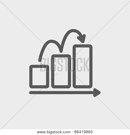 Business sales increase icon thin line for web and mobile, modern minimalistic flat design. Vector dark grey icon on light grey background.