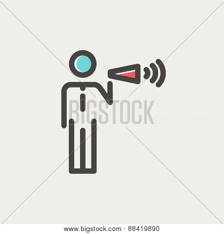 Man with megaphone icon thin line for web and mobile, modern minimalistic flat design. Vector icon with dark grey outline and offset colour on light grey background.