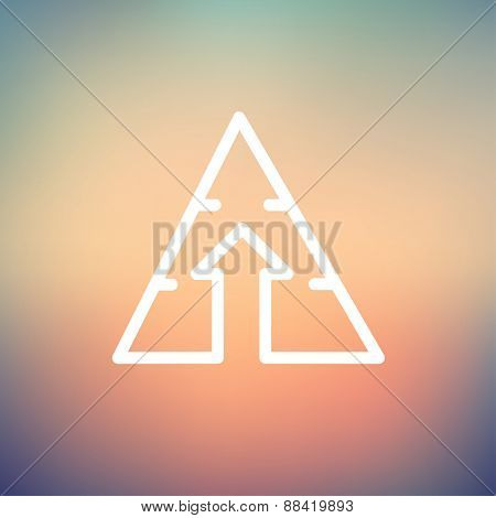 Triangle arrow up icon thin line for web and mobile, modern minimalistic flat design. Vector white icon on gradient mesh background.