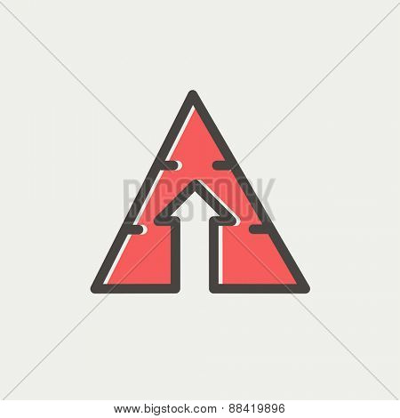 Triangle arrow up icon thin line for web and mobile, modern minimalistic flat design. Vector icon with dark grey outline and offset colour on light grey background.