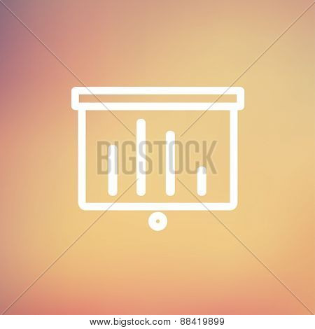 Projector roller screen icon thin line for web and mobile, modern minimalistic flat design. Vector white icon on gradient mesh background.