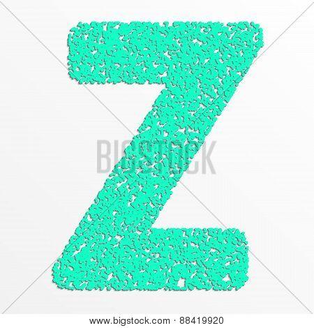Vector multi color alphabet with grain texture, letter z