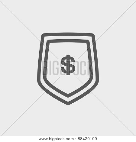 Jeans pocket with dollar symbol icon thin line for web and mobile, modern minimalistic flat design. Vector dark grey icon on light grey background.